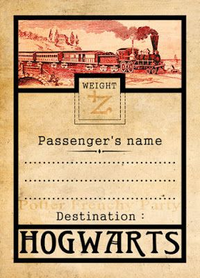 Potter frenchy party - Inspiration : le Poudlard Express, le train des jeunes sorciers - hogwarts express - free printables - harry potter diy - luggage trunk tag -