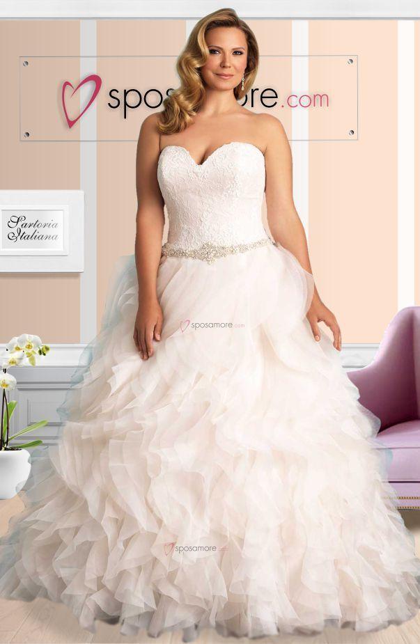 stile principessa in organza con cintura di strass e perline, scollo a cuore