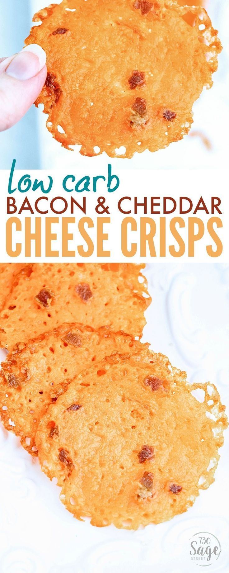 These Low Carb Bacon Cheddar Cheese Crisps make a great quick & easy snack. Crisp like chips, but made of cheese so they are a good fit for ketogenic diets. https://www.730sagestreet.com/low-carb-bacon-cheddar-cheese-crisps/ (Cheddar Cheese Snacks)