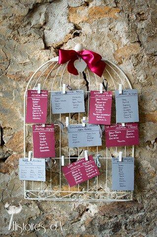 Plan de table cage à oiseaux photographe mariage ile de france http://histoires.d.aline.free.fr/