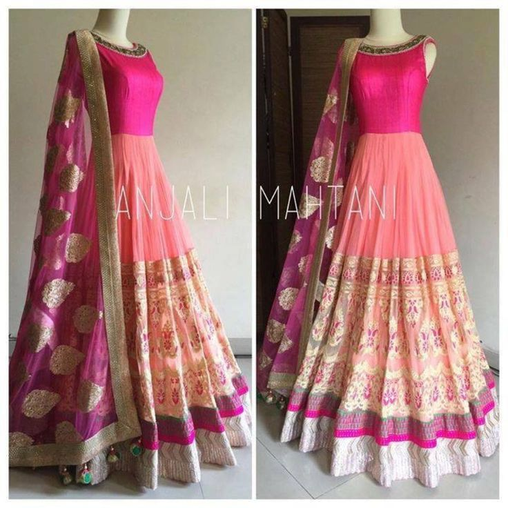 A099  Fabay New designer Embroidered Party Wear Anjali Mahetani Pink Gown Suit SKT0043