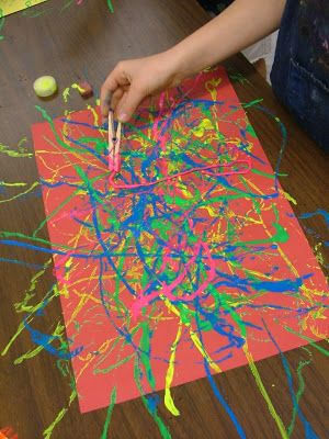 Use clothes pins to paint with string Art with Mrs. Seitz: Pollock