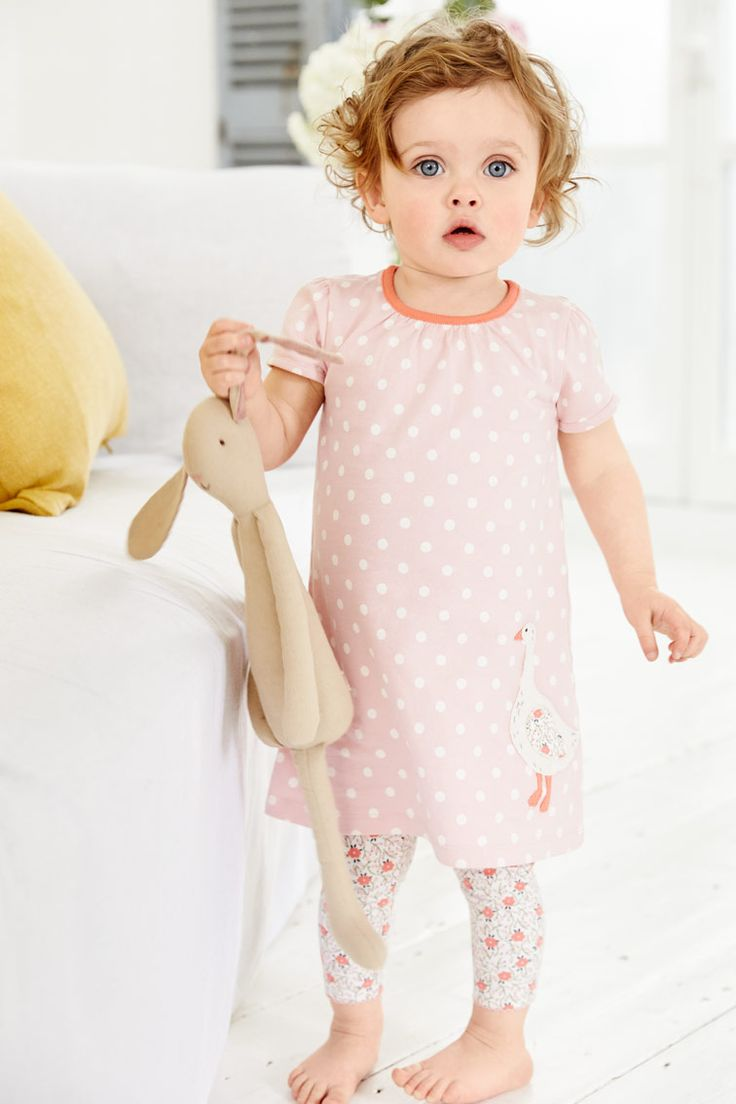 Give the little one a loyal animal companion with this appliqué jersey dress, which features the softest (and fanciest) goose they're ever likely to meet. For an extra-special touch, the wing even matches the leggings that come with it. Snap!