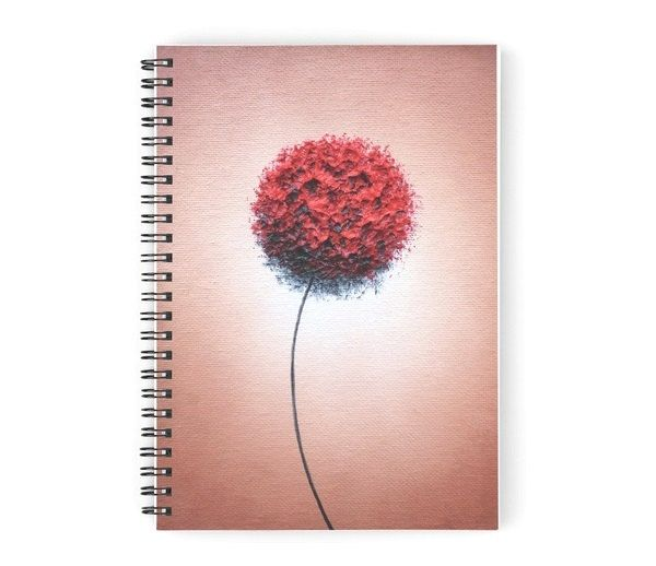 Spiral Notebook, Red and Brown Rustic Journal, Bullet Journal, Red Flower Journal, School Supplies, Student Diary, Ruled Writing Journal by BingArt on Etsy