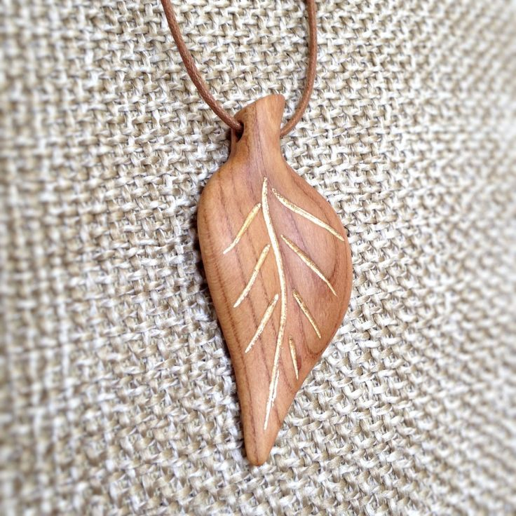 """Hand Carved Hardwood Apricot Tree Pendant """"Golden Leaf"""" With Gold Leaf Inlay - wood pendant, natural jewelry, leaf pendant, organic, by VanDenArt on Etsy"""