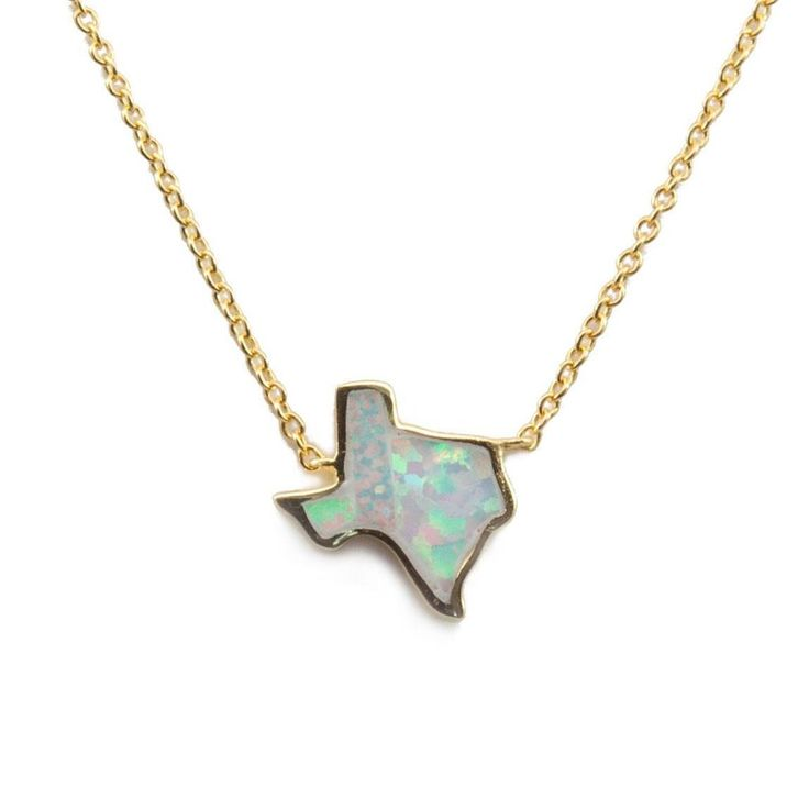 Represent the Lone Star state by adding this beautiful Texas opal necklace to your jewelry collection. This opal pendant is placed on a gold vermeil or sterling silver chain. Chain is adjustable to hang at 16 or 18 inches. Texas is available in a white opal called Snow, or a blue opal called Azul. #handmadejewelry