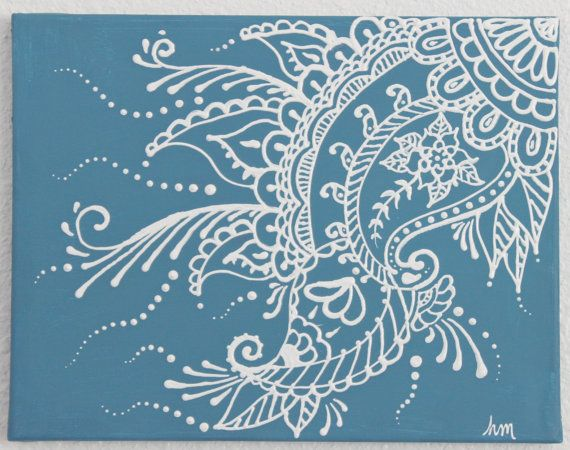 Mehndi Henna Painting- 11x14 Stormy blue and white-ON SALE via Etsy