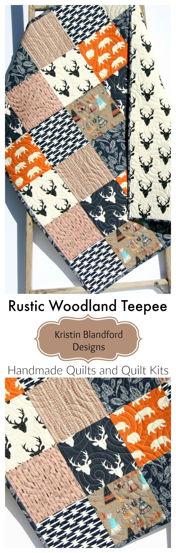 Rustic Woodland Teepee Quilt Kits, Baby Quilt Kit, Throw Quilt Kit, Twin Quilt Kit, Toddler Quilt Kit, Handmade Baby Quilt, Hanmade Quilts for Sale, Buck Deer Bears Aztec Arrows Teepee Feathers Brown Tan Navy Blue Orange, Sewing Project, Beginner Quilting Ideas, Patchwork Quilt Kit by Kristin Blandford Designs  #babyquilt #handmadegifts #giftfromgrandmother #baby