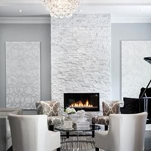 Jennifer Brouwer Design - living rooms - gray blue paint colors, gray blue paints, gray blue living rooms, gray blue living room walls, floor to ceiling fireplaces, contemporary fireplaces, white stone fireplaces