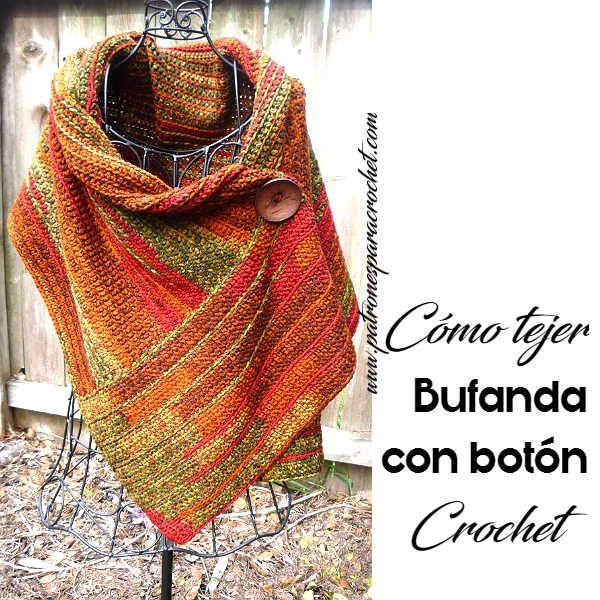 Bufanda con Botón a Crochet / Paso a paso | Patrones para Crochet
