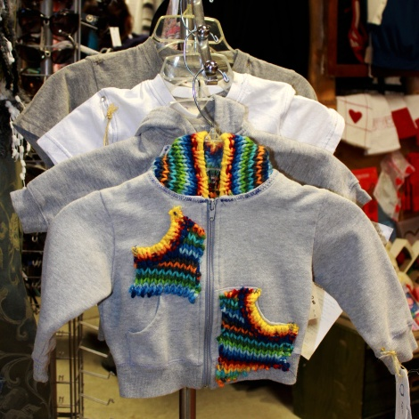 Q2 Creations creates kids items too! Check out this cute baby hoodie with knitted embellishment.