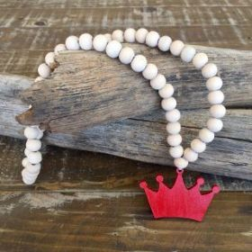 Crown Necklace | Red/Natural #oliverthomas #zavthebrave #crown #girlsnecklace #boysnecklace #necklace #kidswear #kidsnecklace