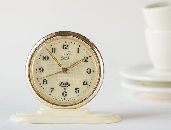 Rare alarm clock Friendship round small clock by SovietEra on Etsy, $40.00
