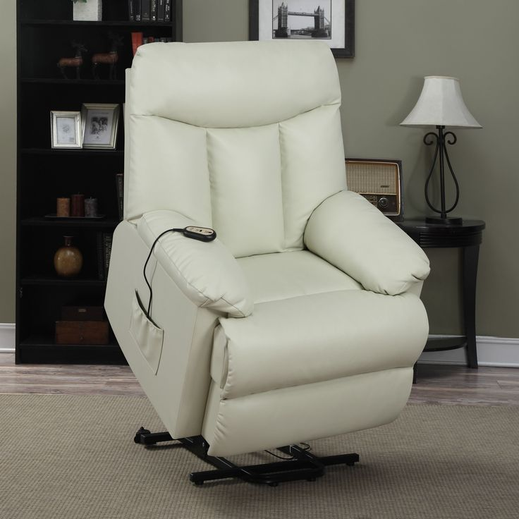 ProLounger Lya Cream Renu Leather Power Recline and Lift Wall Hugger Chair : electric recliners leather - islam-shia.org