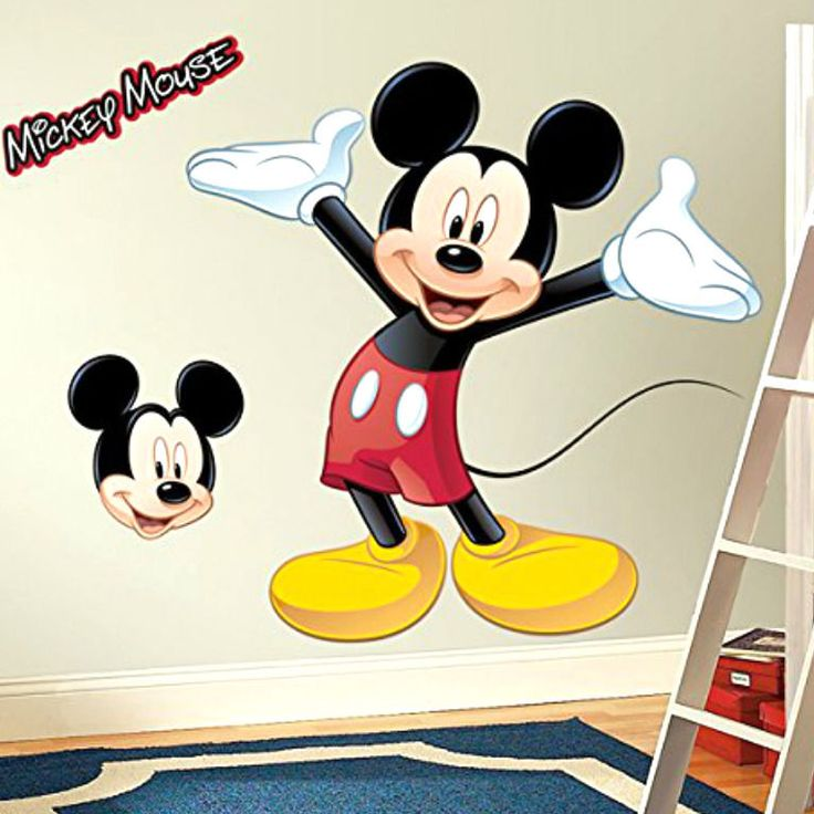 Mickey Mouse Peel And Stick Giant Wall Decal Kid Bedroom Cartoon Decor Removable