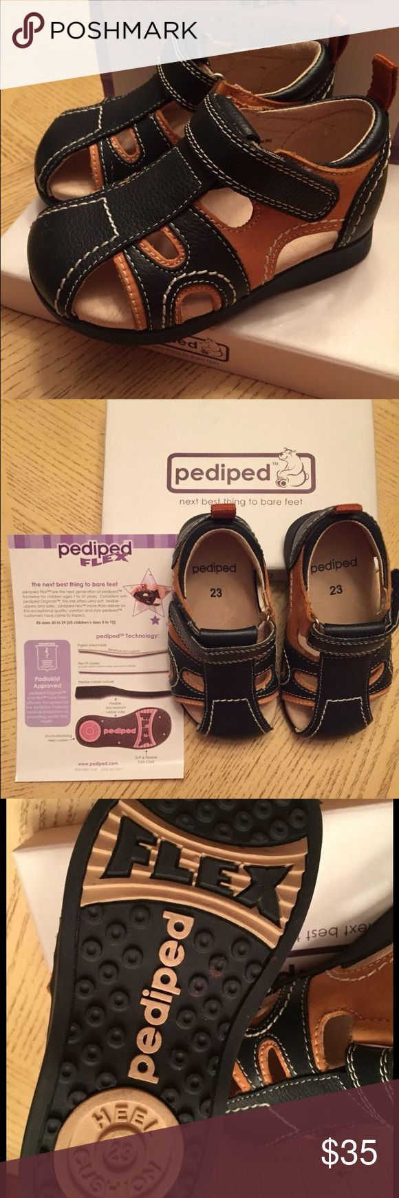 New- Pediped Boy's Shoes ❣ Pediatrics Approved Children Shoes ❣It has an ultra soft soles and flexible upper ❣ Leather shoes ❣ Color: Navy and Camel Shoes Sandals & Flip Flops
