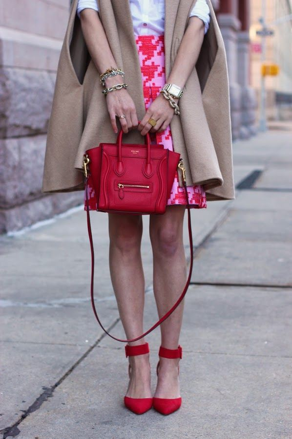 Atlantic-Pacific: like a lady  Skirt: J.Crew. Shoes: Zara. Top: Hanro c/o. Bag: Celine. Sunglasses: Karen Walker 'Super Duper'. Lips: MAC 'Ruby Woo'. Cape: MiraMira . Jewelry: David Yurman, Michele Watch, Stella and Dot, Pomellato.