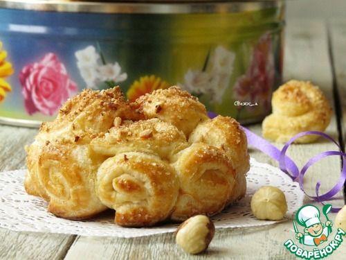 Сахарно-ореховые слоёные розы - кулинарный рецепт