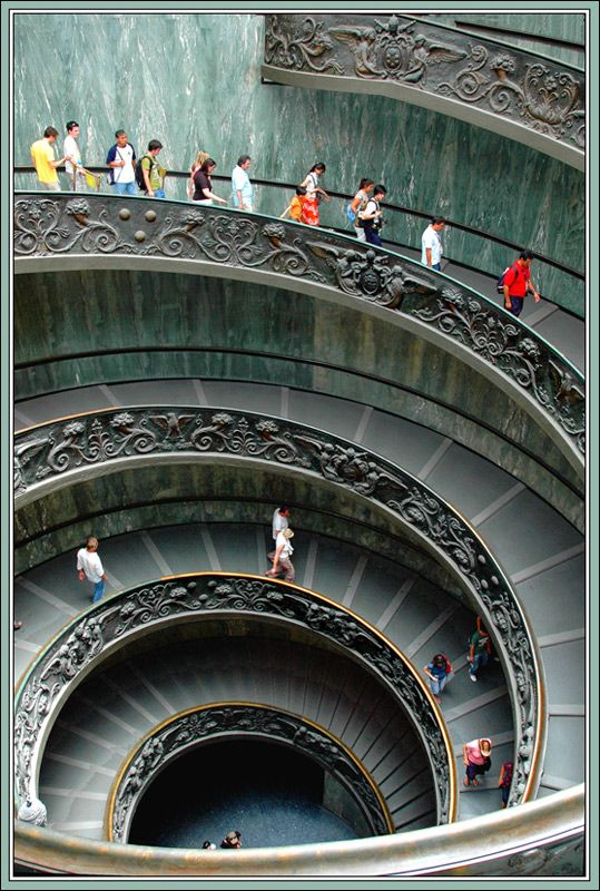 LOGARITHMIC SPIRAL - Vatican Museum, Rome, Italy This staircase designed by Giuseppe Momo in 1932 is one of the most photographed staircases in the world,