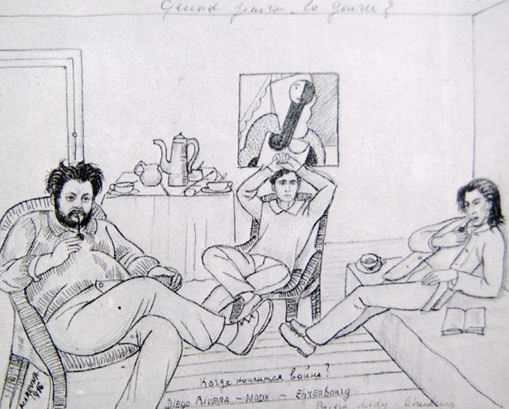 Когда закончится война? Рисунок Маревны, 1916, Париж. Слева направо — Ривера, Модильяни, Эренбург