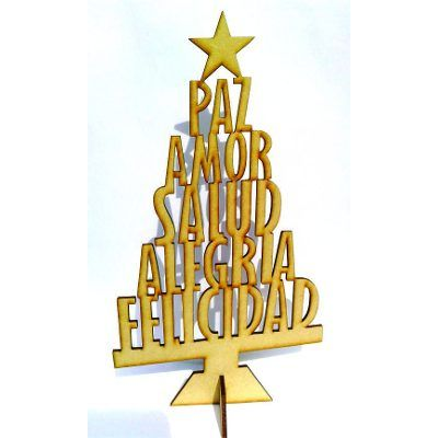Arbolito Navidad Palabras, Fibrofacil, Decoracion - $ 22,00