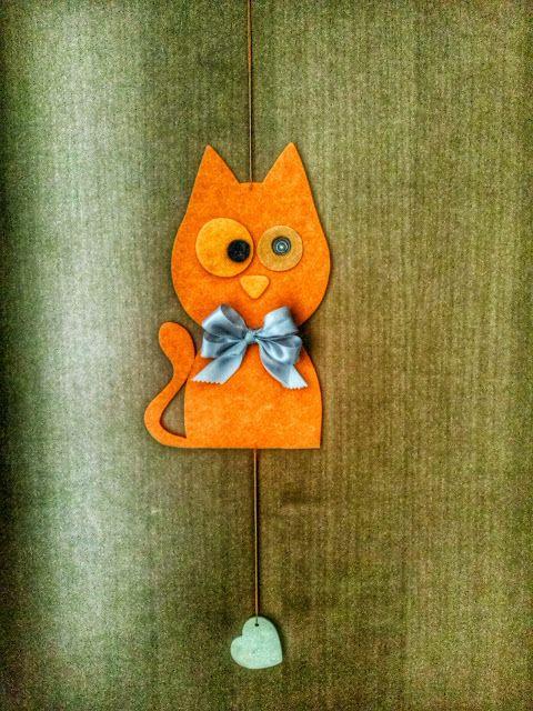 Fimo e Feltro...l'arte tra le mani: GATTO SPIONE...decorazione portoncino