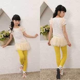 Девочки лето Elegent одежда девочки длинная стиль узор в горошек футболки с круглым вырезом короткий рукав с кружево топы K0203