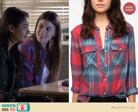 Paige's red and blue plaid shirt on Pretty Little Liars.  Outfit Details: https://wornontv.net/16413/ #PLL