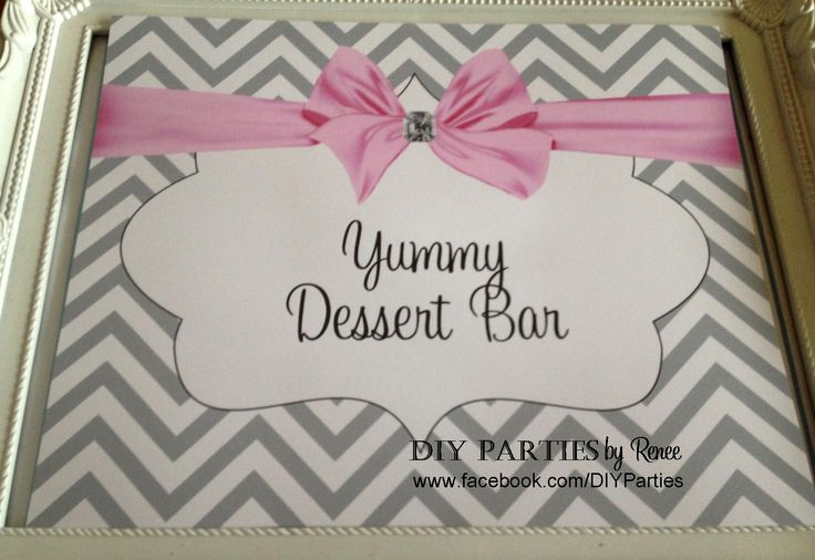 Table Sign - Silver Chevron. Find us on Facebook:  www.facebook.com/diyparties