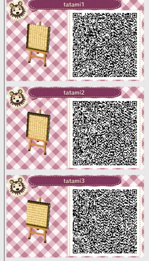 Tatami mat 1 2 3 animal crossing new leaf qr codes for Floor qr codes new leaf