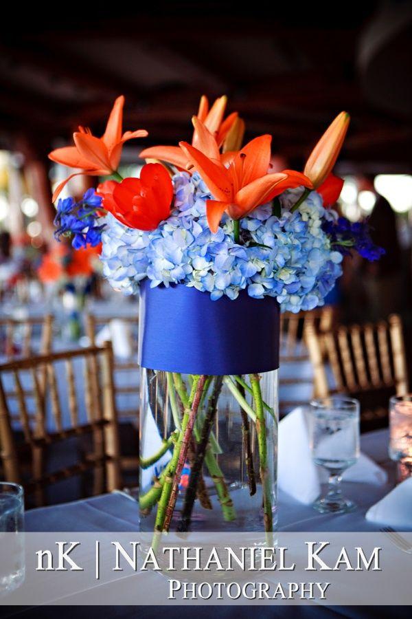 blue and orange wedding centerpieces | blue and orange floral centerpiece, San Diego ... | Someone's Wedding ...