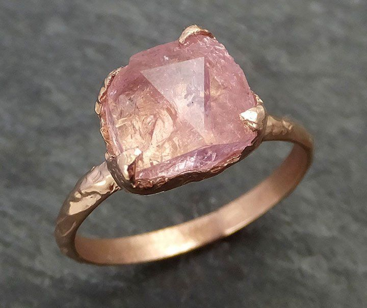 Raw Rough and partially Faceted Pink Topaz 14k rose Gold Ring One Of a Kind Gemstone Ring Recycled gold byAngeline 0349