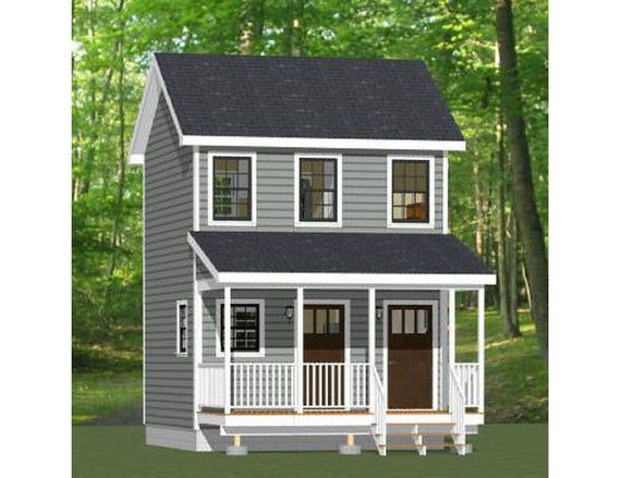 16x16 Duplex 441 Sq Ft Pdf Floor Plan Instant Download Model 23 Building Plans House Duplex House Plans Duplex Plans