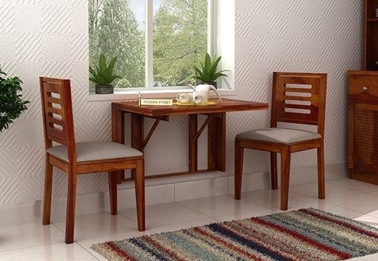 Benz Wall Mount 2 Seater Foldable Dining Set Honey Finish
