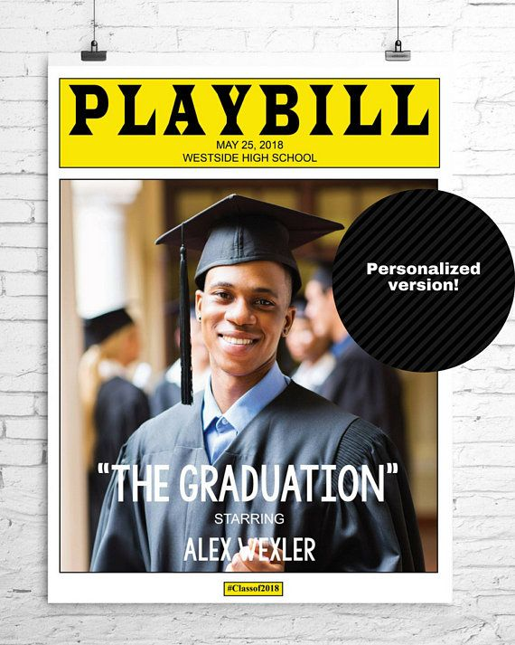 Graduation Personalized PLAYBILL Broadway Poster, Centerpiece or Signing Board, 1 Photo, Digital Fil