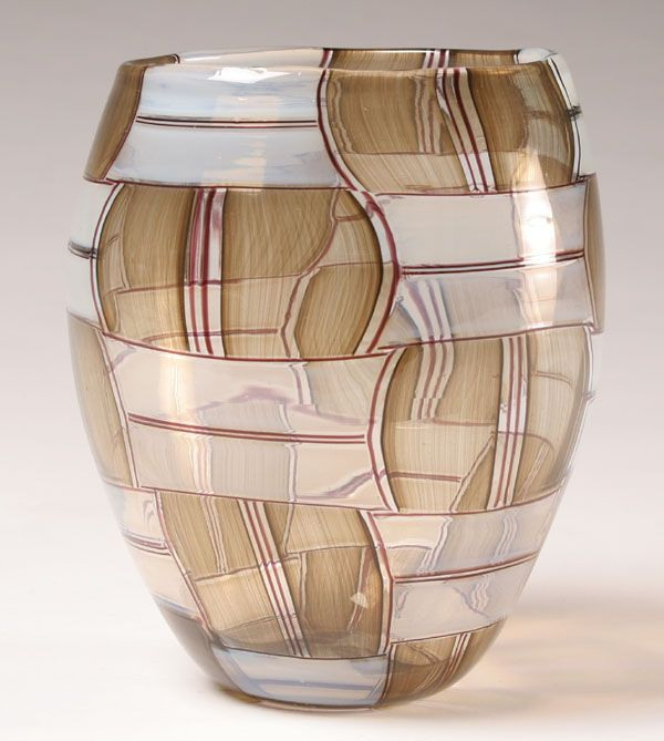 Barovier and Toso Parabolici Patchwork Art Glass Vase, designed by Ercole Barovier, c.1957. Bulbous form composed of linear edged patches blown to form a series of curves.