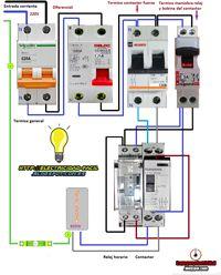 Esquemas eléctricos: maniobra de termo electrico con reloj horario cont...