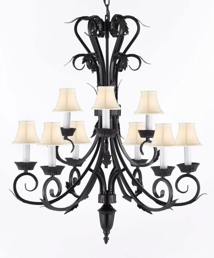 Wrought Iron Chandelier Lighting With White Shades H30 x W26, Black
