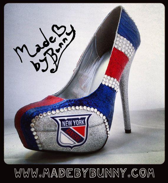 I NEED these!!!! Best Shoe Porn Ever!!  New York Rangers Sports Team Hockey Heels w/ Rhinestones & Glitter - Stiletto / Pumps / Heels / Closed Peep or Open Toe Sexy Sports Shoes. $120.00, via Etsy.