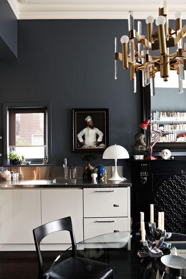 Kitchen glam via Design Files Wall color