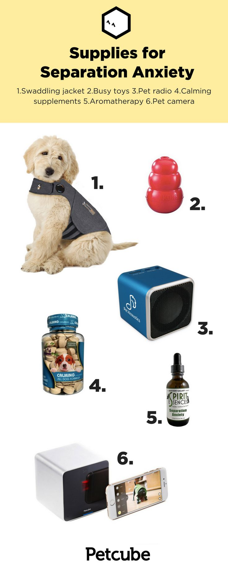 Separation anxiety can be one of the toughest things when it comes to having a dog. Here are supplies, ranging from aromatherapy to pet cams, that can help ease your dog's separation anxiety. #petcare