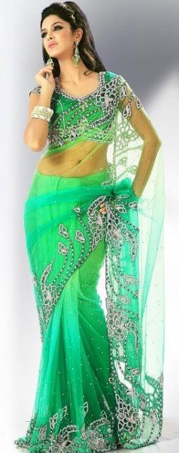 Green sari| bridal saree| designer sari                                                                                                                                                                                 More