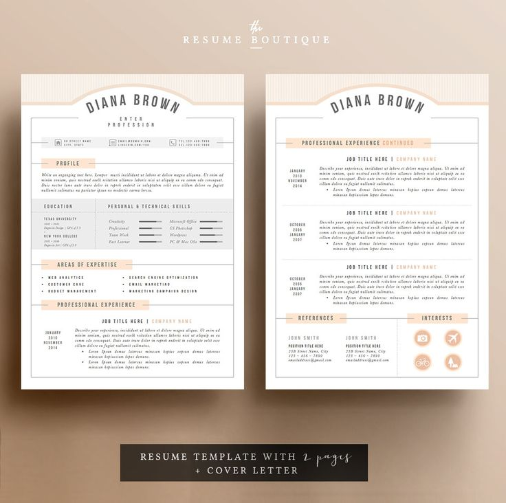 69 best Resumes images on Pinterest Cv template Resume
