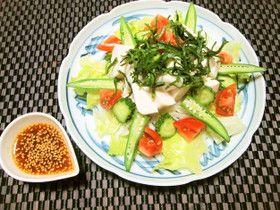 あまかつゆ★で中華風ごまドレの豆腐サラダ