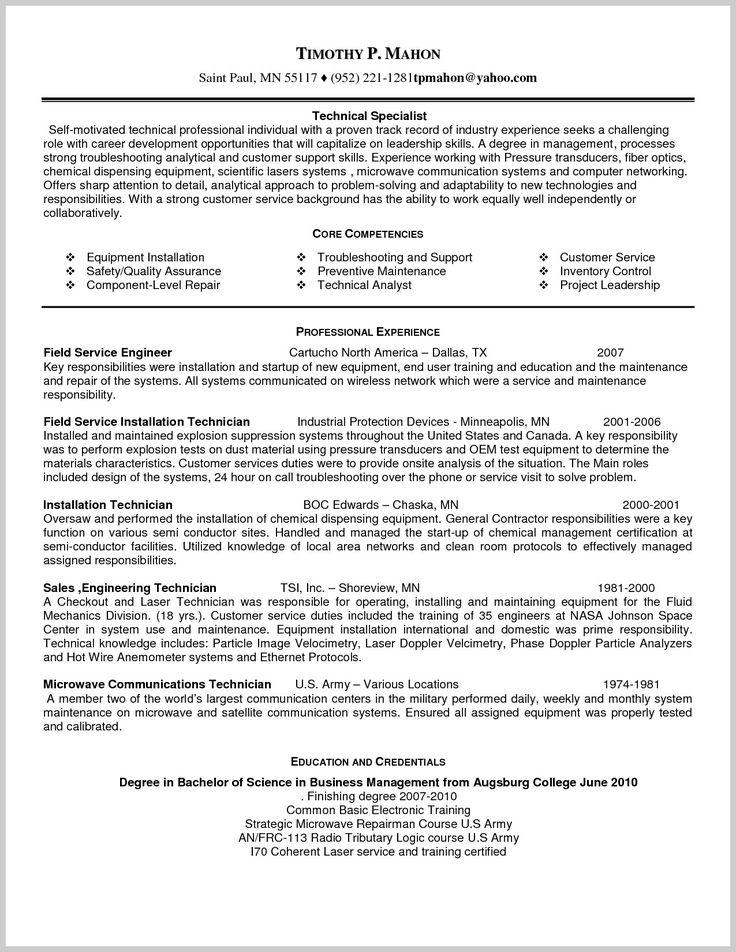 sample resume for field service technician 218944