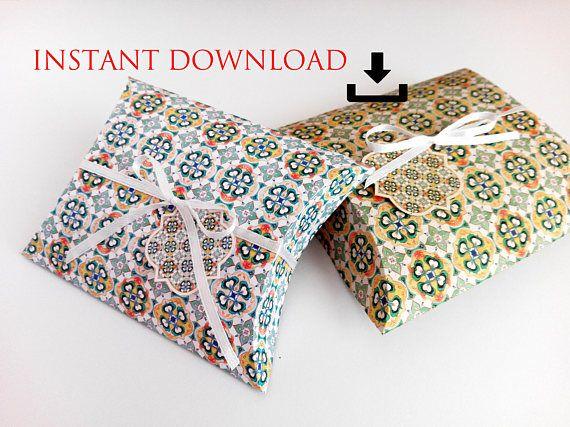 printable DOWNLOAD watercolor tiles pillow box resizable