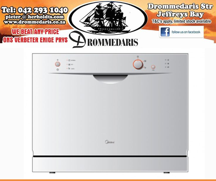 The Swiss Counter Top Dishwasher has a 6 place setting and can be built into your kitchen cabinet for that extra touch of elegance. Available at #Drommedaris. #dishwasher #appliances