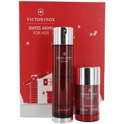 SWISS ARMY by Swiss Army Gift Set for WOMEN: EDT SPRAY 3.4 OZ & DEODORANT STICK 2.5 OZ by SWISS ARMY. Save 38 Off!. $37.19. Fragrance Notes: mandarin, musk and muguet.. Design House: Swiss Army. Recommended Use: daytime. SWISS ARMY by Swiss Army for WOMEN EDT SPRAY 3.4 OZ & DEODORANT STICK 2.5 OZ Launched by the design house of Swiss Army in 2002, SWISS ARMY by Swiss Army possesses a blend of mandarin, musk and muguet.. It is recommended for daytime wear.