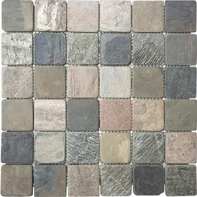 Anatolia 2 inchx2 inch multi color tumbled slate mosaics 12 031 home depot canada home Natural stone bathroom floor