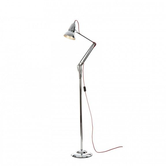 Anglepoise Duo 1227 Floor Lamp Bright Chrome With Red Cable Contemporary Floor Lamps Floor
